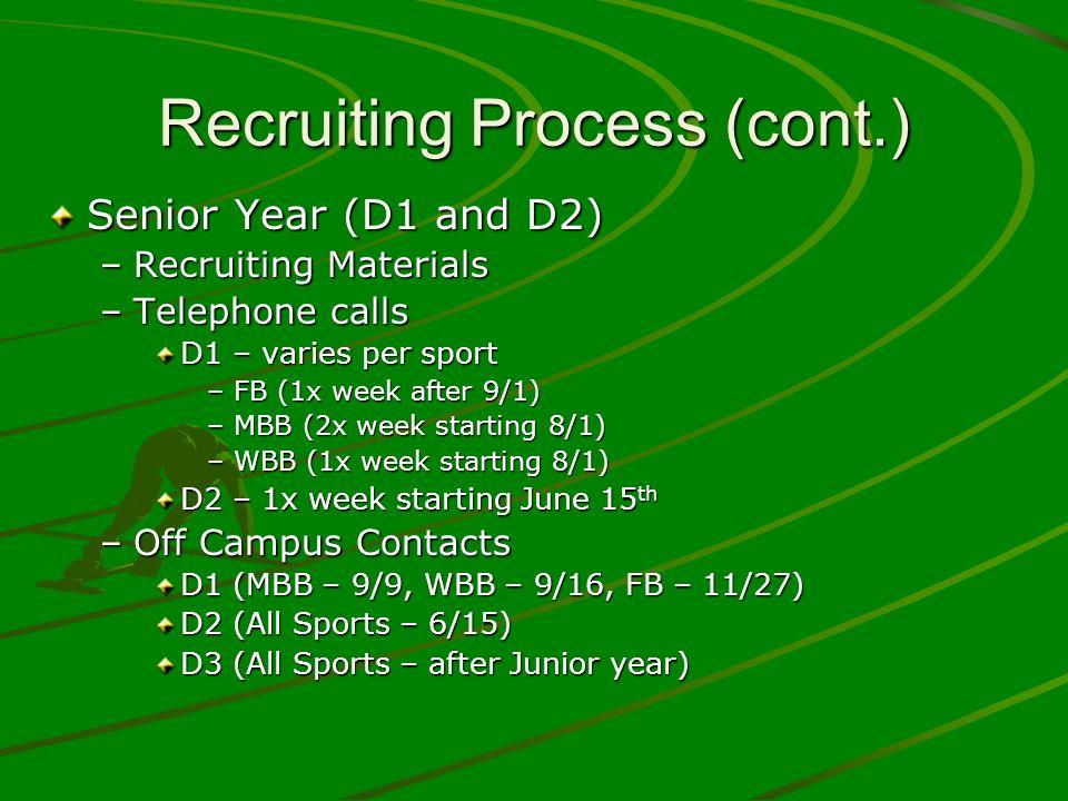 Recruiting Process (cont.) Senior Year (D1 and D2) –Recruiting Materials –Telephone calls D1 – varies per sport –FB (1x week after 9/1) –MBB (2x week
