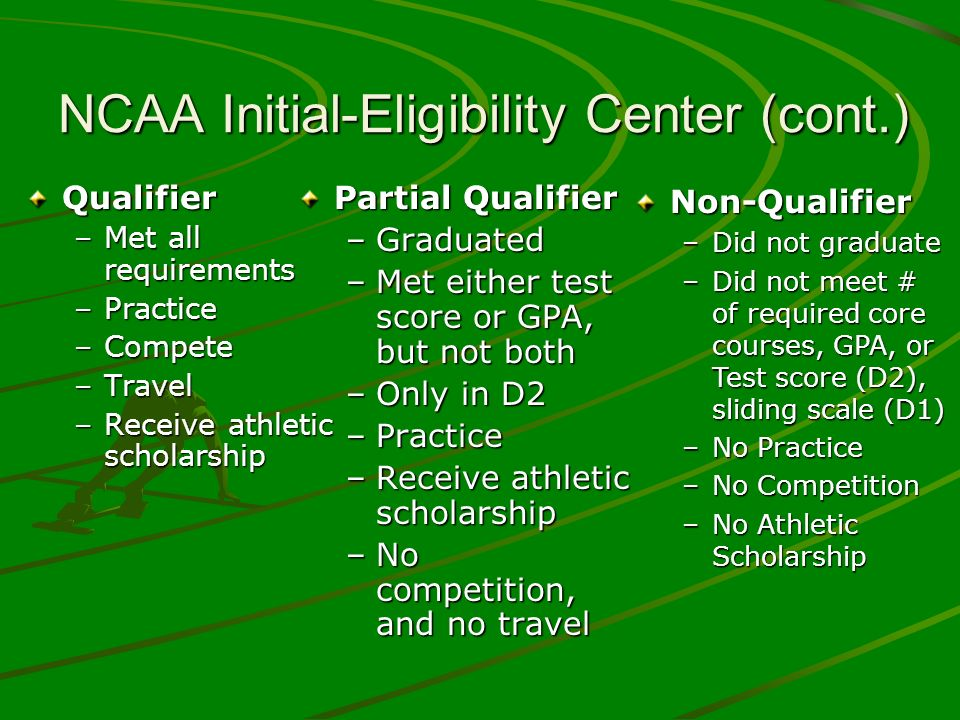 Qualifier –Met all requirements –Practice –Compete –Travel –Receive athletic scholarship Partial Qualifier –Graduated –Met either test score or GPA, but not both –Only in D2 –Practice –Receive athletic scholarship –No competition, and no travelNon-Qualifier –Did not graduate –Did not meet # of required core courses, GPA, or Test score (D2), sliding scale (D1) –No Practice –No Competition –No Athletic Scholarship NCAA Initial-Eligibility Center (cont.)