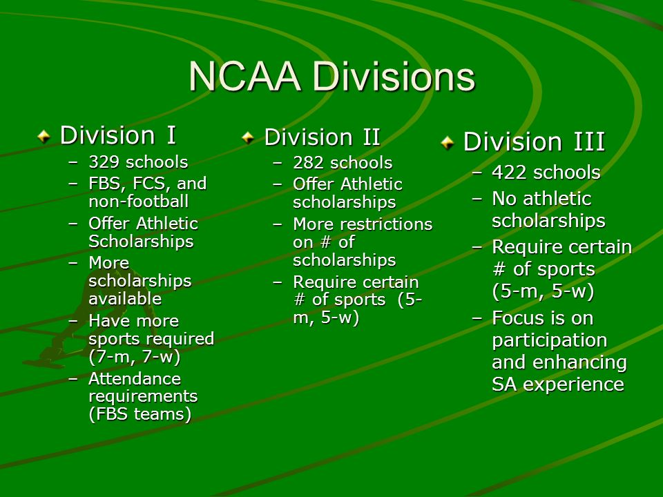 NCAA Initial-Eligibility Center (cont.) Test Scores –D2 = 820 (SAT) and 68 (ACT) –D1 = sliding scale with Core GPA Rule of thumb = for every.025 GPA increase, test score requirement goes down 10 (SAT) and 1 (ACT) 2.00101086 2.2094079 2.4086071 2.5082068 2.6078064 2.80700572.90660543.0062052 3.1058049 3.2549044 3.4046042 3.5540037
