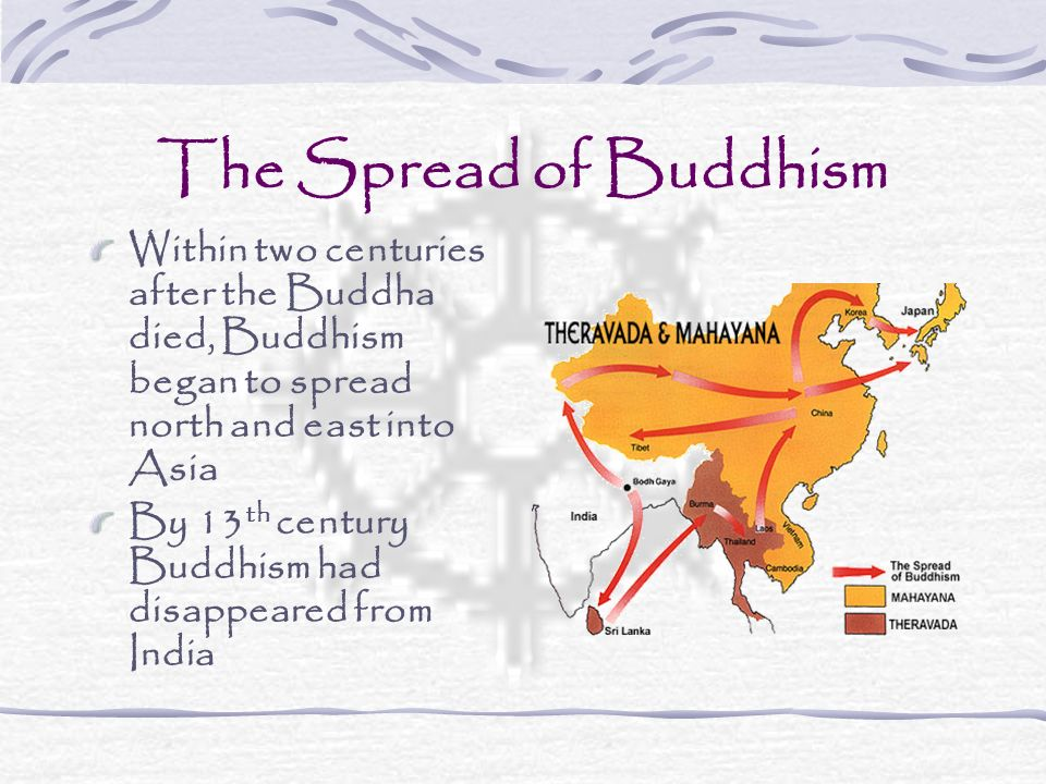 The Spread of Buddhism Within two centuries after the Buddha died, Buddhism began to spread north and east into Asia By 13 th century Buddhism had dis