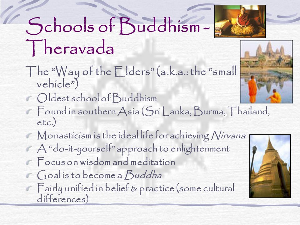 Schools of Buddhism - Theravada The Way of the Elders (a.k.a.: the small vehicle) Oldest school of Buddhism Found in southern Asia (Sri Lanka, Burma,
