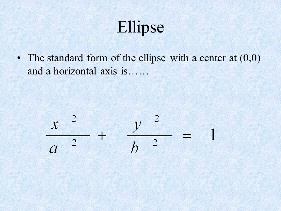 Ellipse General Rules –a is the distance from the center to each vertex on the major axis –b is the distance from the center to each vertex on the min
