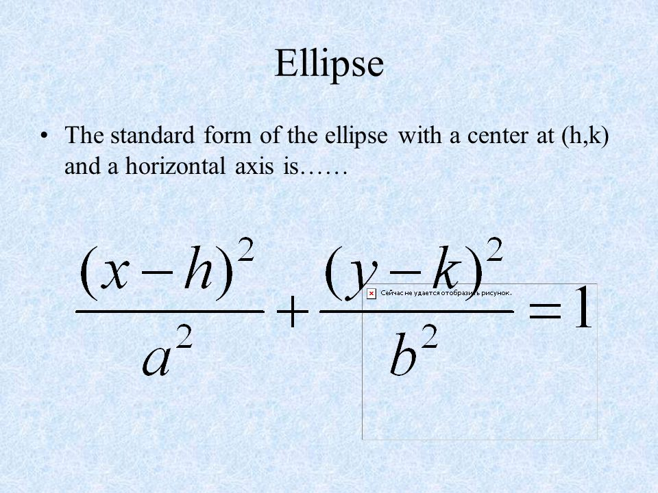Ellipse The ellipse with a center at (0,0) and a vertical axis has the following characteristics…… Vertices (0, a) Co-Vertices ( b,0) Foci (0, c) © Ca
