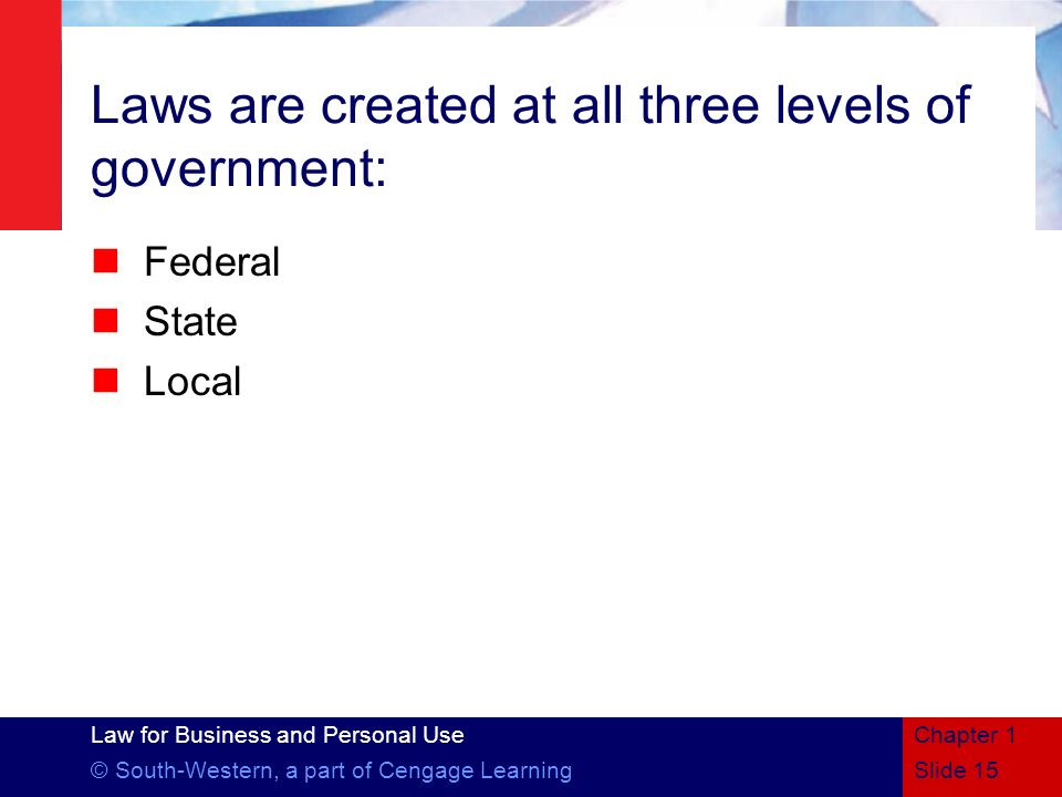 Law for Business and Personal Use © South-Western, a part of Cengage Learning Laws are created at all three levels of government: Federal State Local
