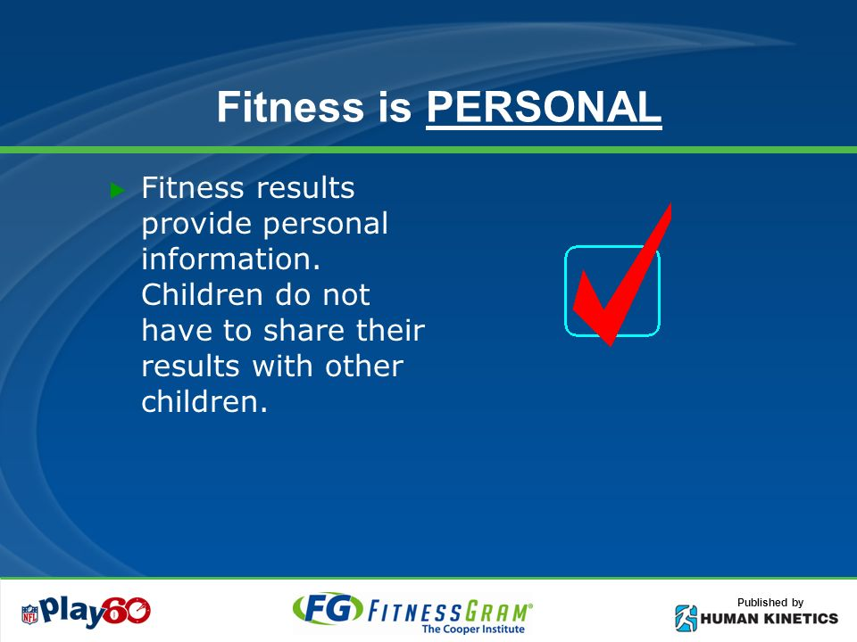 Published by Fitness is PERSONAL Fitness results provide personal information.