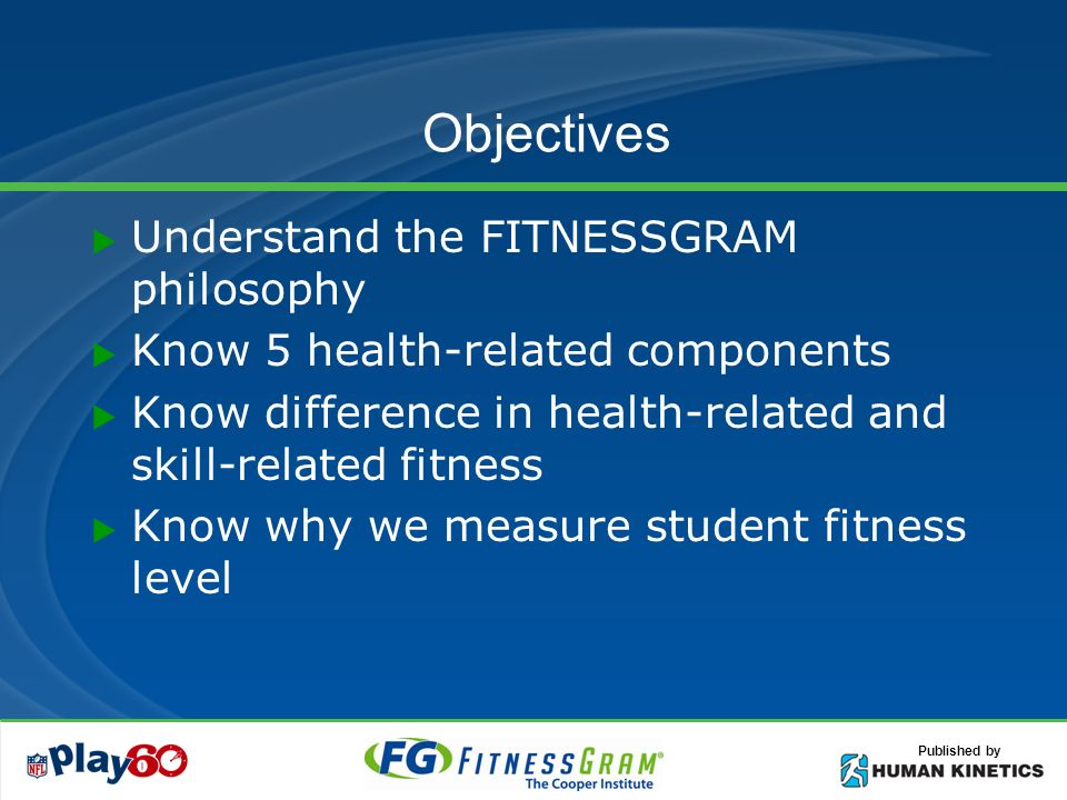 Objectives Understand the FITNESSGRAM philosophy Know 5 health-related components Know difference in health-related and skill-related fitness Know why