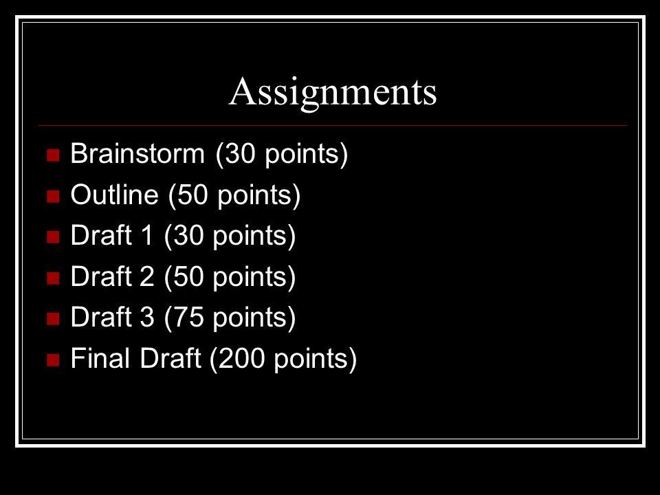 Assignments Brainstorm (30 points) Outline (50 points) Draft 1 (30 points) Draft 2 (50 points) Draft 3 (75 points) Final Draft (200 points)