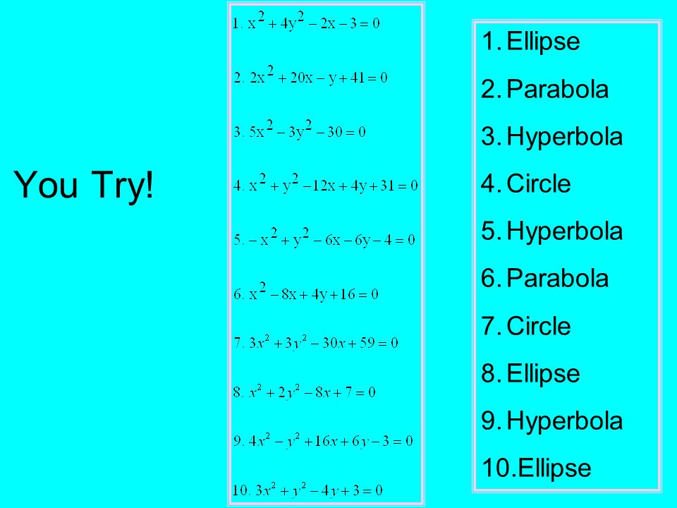 You Try! 1.Ellipse 2.Parabola 3.Hyperbola 4.Circle 5.Hyperbola 6.Parabola 7.Circle 8.Ellipse 9.Hyperbola 10.Ellipse