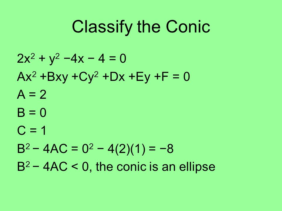 Classify the Conic 2x 2 + y 2 4x 4 = 0 Ax 2 +Bxy +Cy 2 +Dx +Ey +F = 0 A = 2 B = 0 C = 1 B 2 4AC = 0 2 4(2)(1) = 8 B 2 4AC < 0, the conic is an ellipse