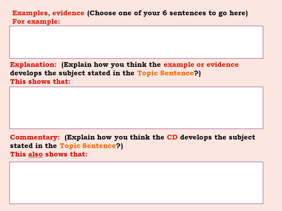 Examples, evidence (Choose one of your 6 sentences to go here) For example: Explanation: (Explain how you think the example or evidence develops the subject stated in the Topic Sentence?) This shows that: Commentary: (Explain how you think the CD develops the subject stated in the Topic Sentence?) This also shows that: