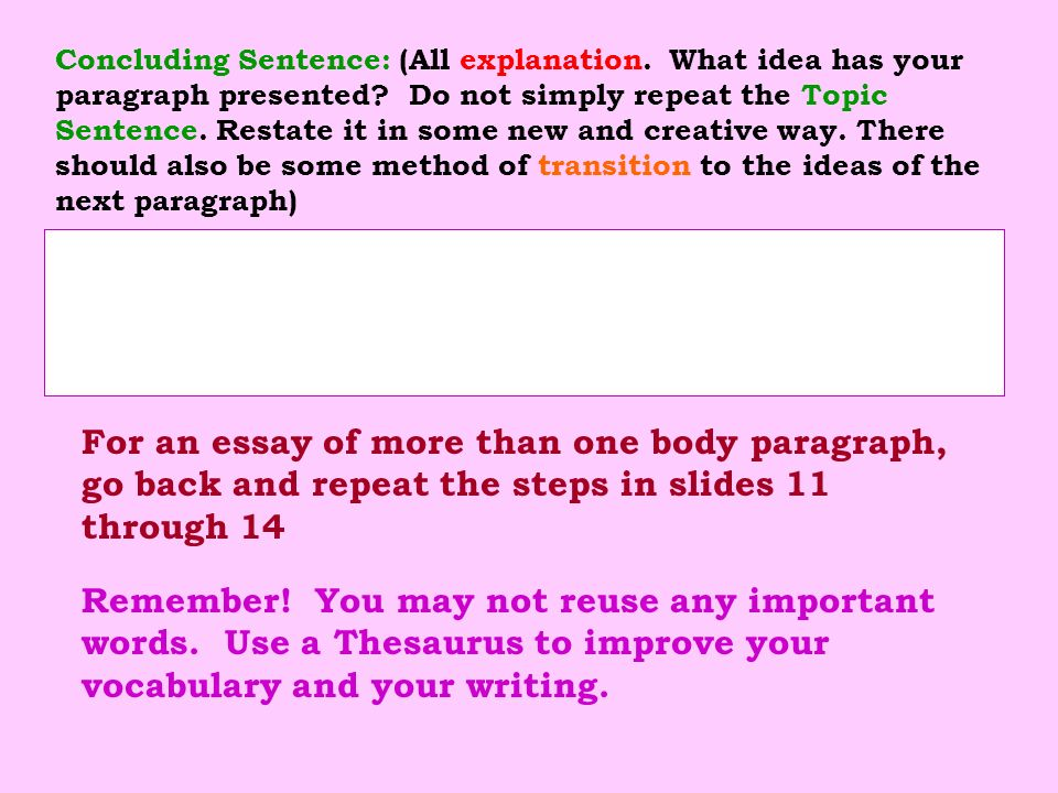 Concluding Sentence: (All explanation. What idea has your paragraph presented? Do not simply repeat the Topic Sentence. Restate it in some new and cre