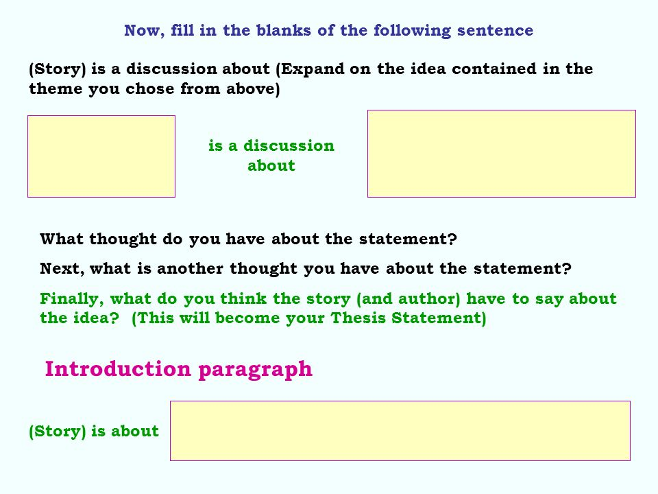 Now, fill in the blanks of the following sentence is a discussion about (Story) is a discussion about (Expand on the idea contained in the theme you c