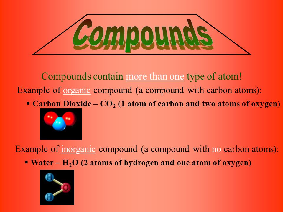 Compounds contain more than one type of atom.