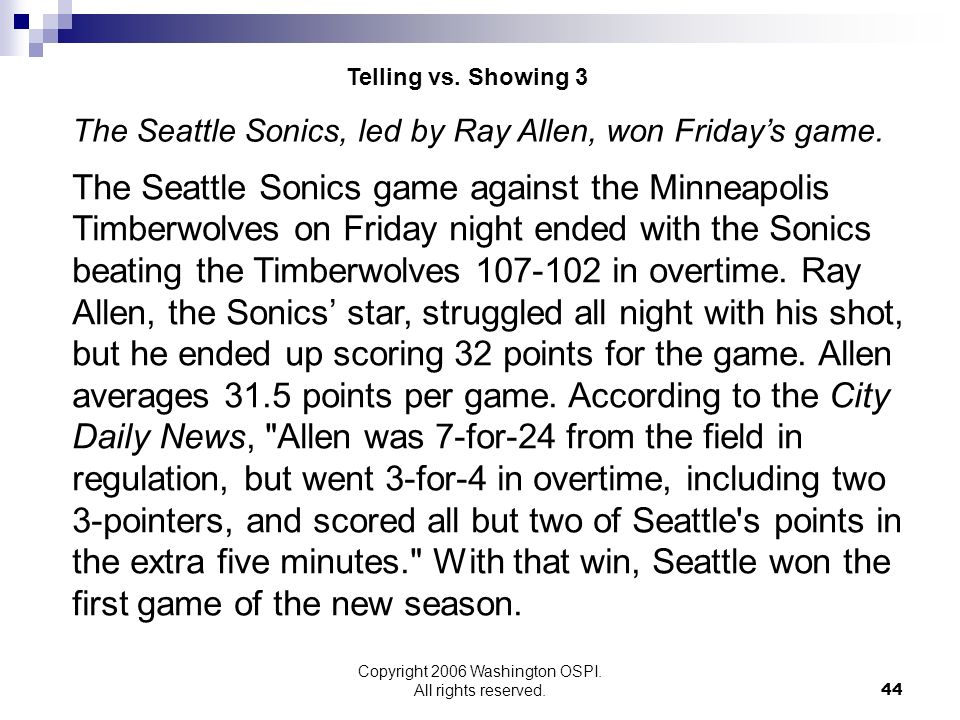 Copyright 2006 Washington OSPI. All rights reserved. The Seattle Sonics game against the Minneapolis Timberwolves on Friday night ended with the Sonic