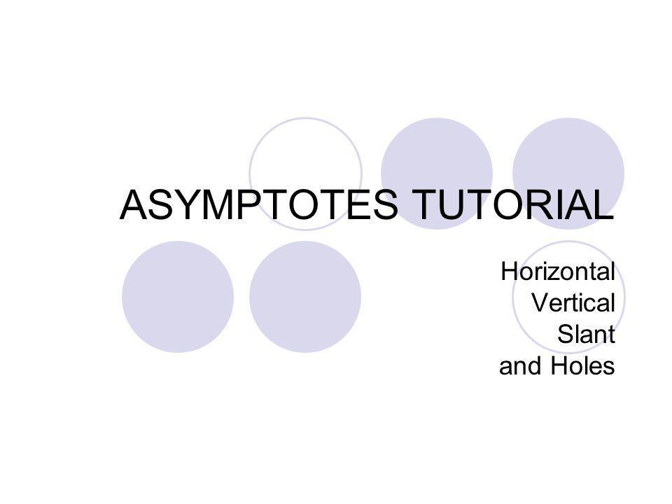 ASYMPTOTES TUTORIAL Horizontal Vertical Slant and Holes