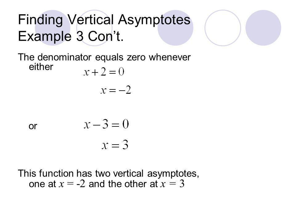 Finding Vertical Asymptotes Example 3 Cont. The denominator equals zero whenever either or This function has two vertical asymptotes, one at x = -2 an