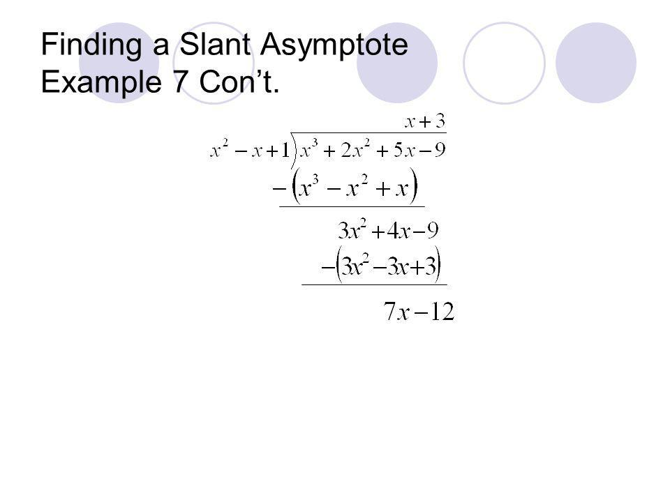 Finding a Slant Asymptote Example 7 Cont.