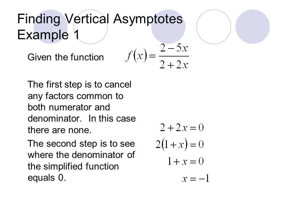 Finding Vertical Asymptotes Example 1 Given the function The first step is to cancel any factors common to both numerator and denominator. In this cas
