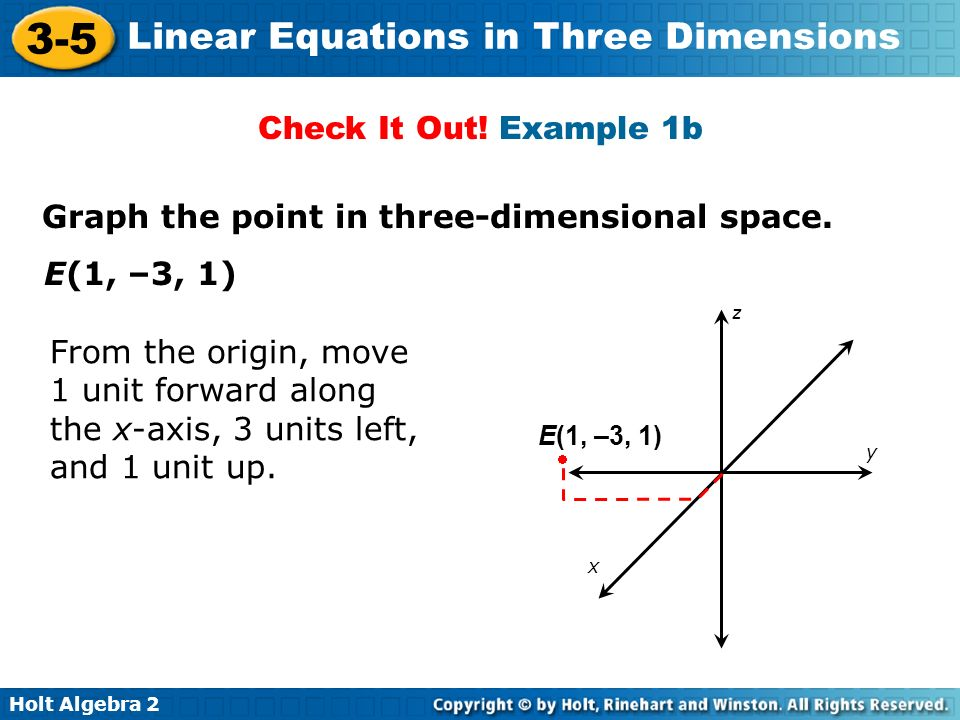 Holt Algebra 2 3-5 Linear Equations in Three Dimensions Graph the point in three-dimensional space. E(1, –3, 1) From the origin, move 1 unit forward a