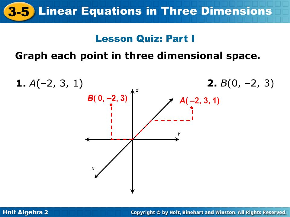 Holt Algebra 2 3-5 Linear Equations in Three Dimensions Lesson Quiz: Part I Graph each point in three dimensional space. 1. A(–2, 3, 1) 2. B(0, –2, 3)