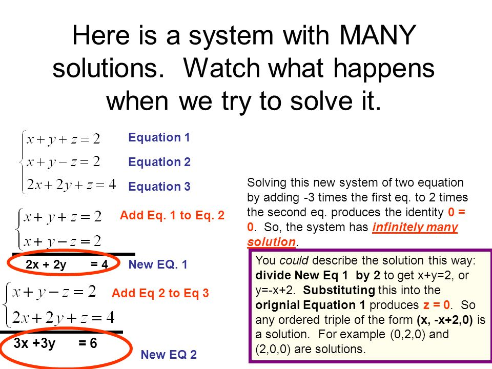 Substitution Method Since x+y=z, substitute this for z in the first two equations Simplify Finally, solve this linear system of two equations and two variables to get x = 4 and y =8 Since z=x+y, z = 12.