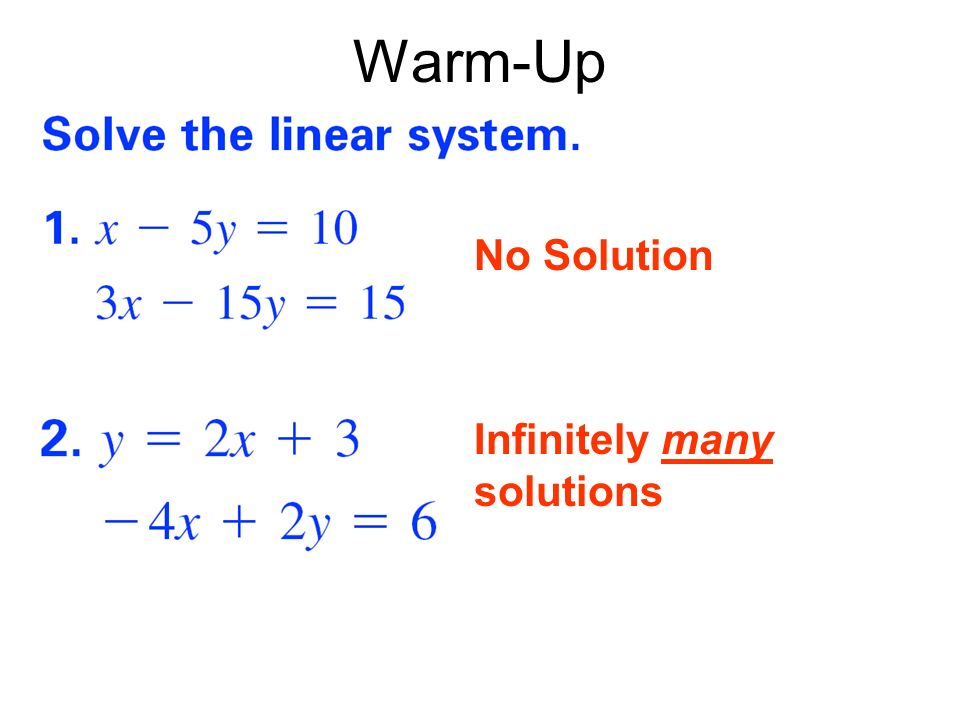 Here is a system of three linear equations in three variables: The ordered triple (2,-1,1) is a solution to this system since it is a solution to all three equations.