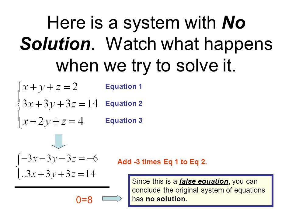 Here is a system with MANY solutions.Watch what happens when we try to solve it.