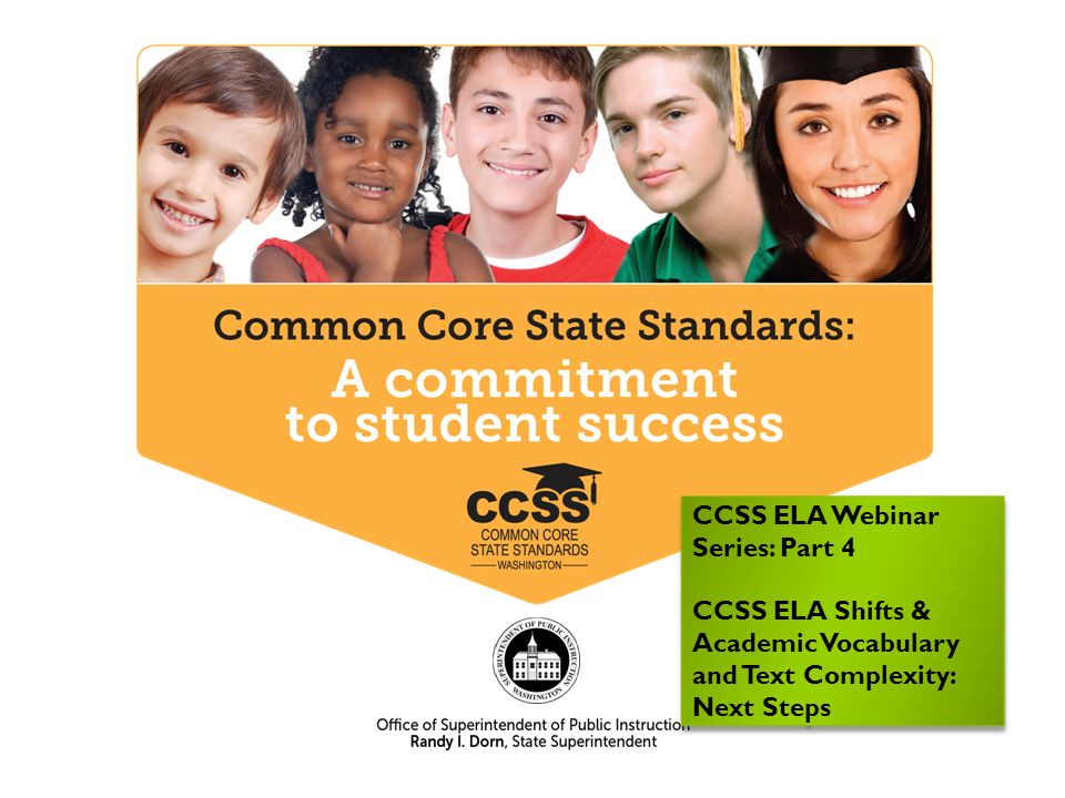 CCSS ELA Webinar Series: Part 4 CCSS ELA Shifts & Academic Vocabulary and Text Complexity: Next Steps CCSS ELA Webinar Series: Part 4 CCSS ELA Shifts