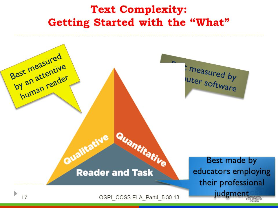 Text Complexity: Getting Started with the What OSPI_CCSS.ELA_Part4_5.30.13 17 Best measured by computer software Best measured by an attentive human r