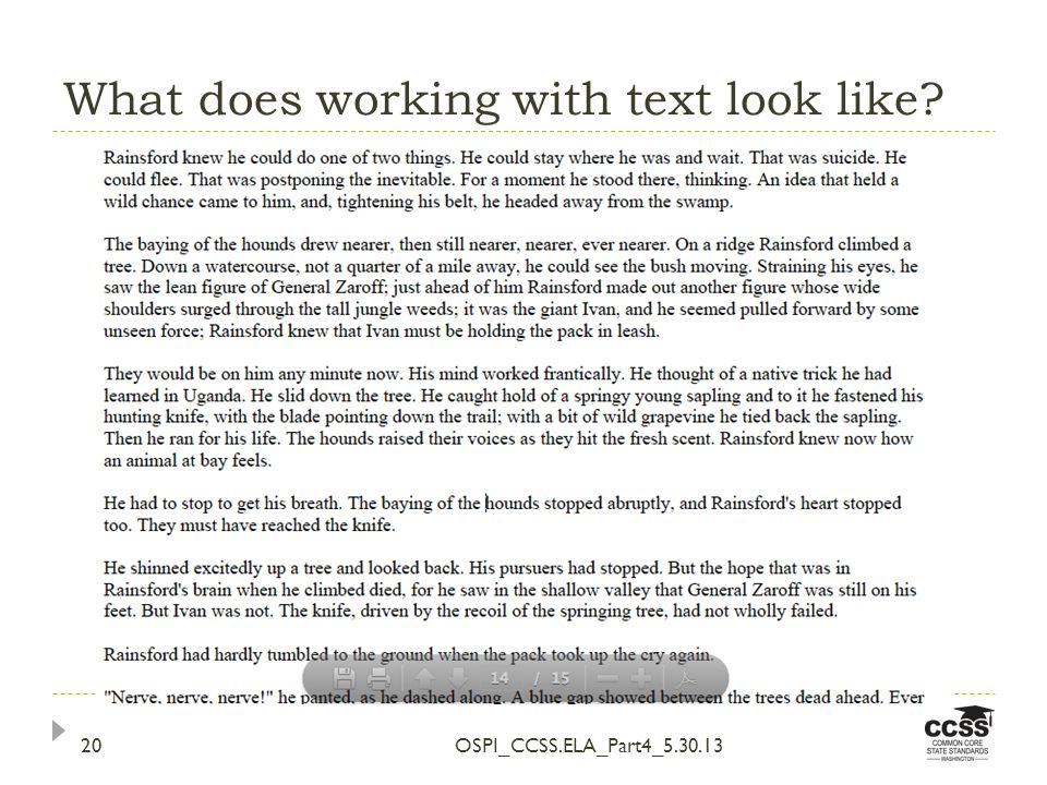What does working with text look like OSPI_CCSS.ELA_Part4_5.30.1320