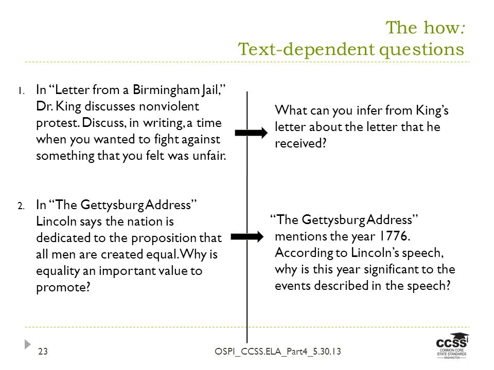 The how : Text-dependent questions OSPI_CCSS.ELA_Part4_5.30.1323 What can you infer from Kings letter about the letter that he received.