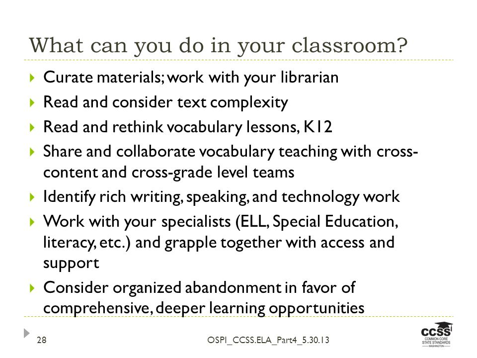 What can you do in your classroom.
