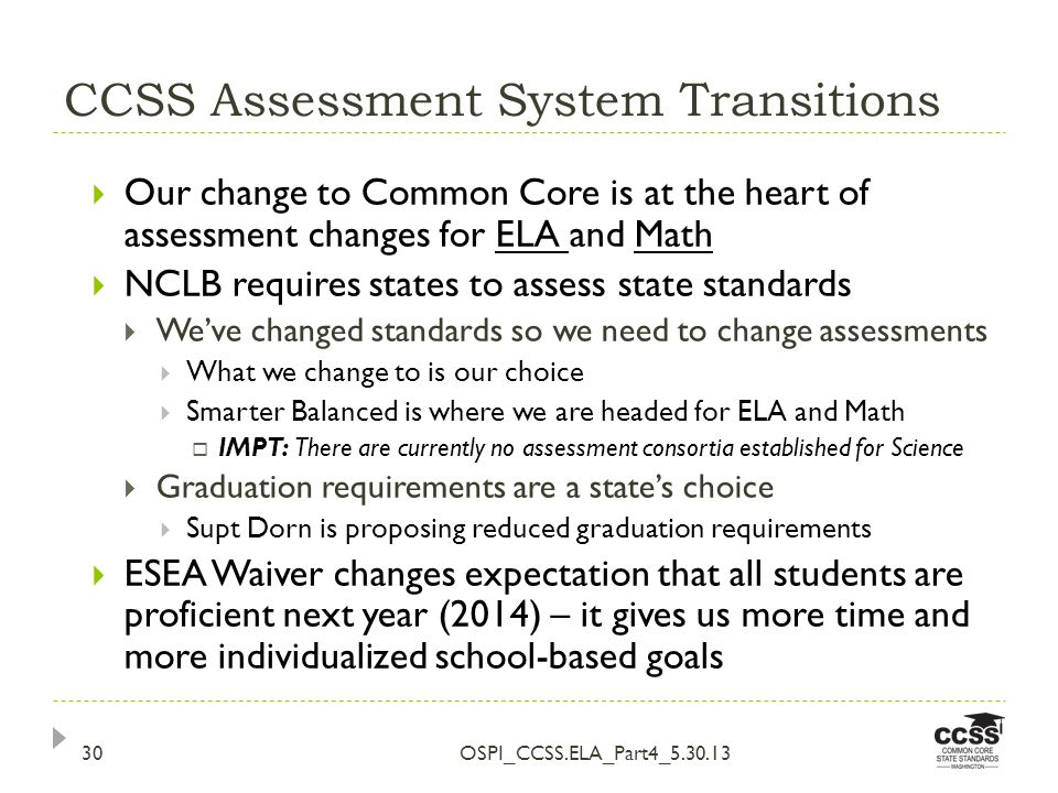 CCSS Assessment System Transitions OSPI_CCSS.ELA_Part4_5.30.1330 Our change to Common Core is at the heart of assessment changes for ELA and Math NCLB