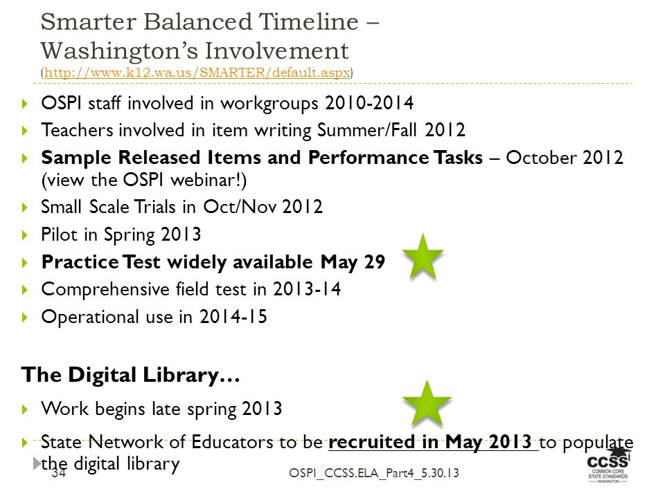 Smarter Balanced Timeline – Washingtons Involvement (http://www.k12.wa.us/SMARTER/default.aspx)http://www.k12.wa.us/SMARTER/default.aspx OSPI_CCSS.ELA_Part4_5.30.13 34 OSPI staff involved in workgroups 2010-2014 Teachers involved in item writing Summer/Fall 2012 Sample Released Items and Performance Tasks – October 2012 (view the OSPI webinar!) Small Scale Trials in Oct/Nov 2012 Pilot in Spring 2013 Practice Test widely available May 29 Comprehensive field test in 2013-14 Operational use in 2014-15 The Digital Library… Work begins late spring 2013 State Network of Educators to be recruited in May 2013 to populate the digital library