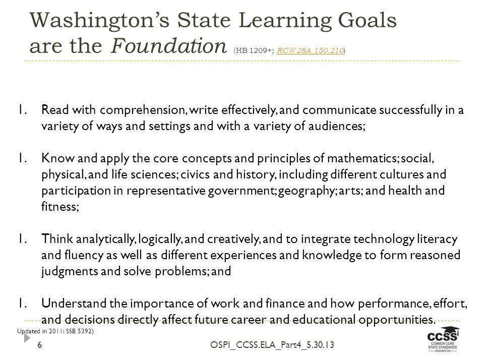 Washingtons State Learning Goals are the Foundation (HB 1209+; RCW 28A.150.210 ) RCW 28A.150.210 OSPI_CCSS.ELA_Part4_5.30.136 1.Read with comprehension, write effectively, and communicate successfully in a variety of ways and settings and with a variety of audiences; 1.Know and apply the core concepts and principles of mathematics; social, physical, and life sciences; civics and history, including different cultures and participation in representative government; geography; arts; and health and fitness; 1.Think analytically, logically, and creatively, and to integrate technology literacy and fluency as well as different experiences and knowledge to form reasoned judgments and solve problems; and 1.Understand the importance of work and finance and how performance, effort, and decisions directly affect future career and educational opportunities.