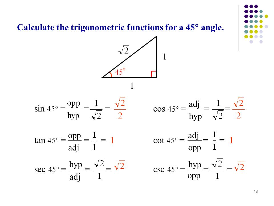 18 Calculate the trigonometric functions for a 45 angle. Examp le: Trig Functi ons for 45 1 1 45 csc 45 = = = opp hyp sec 45 = = = adj hyp cos 45 = =