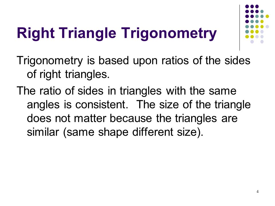 25 Example: Given sec = 4, find the values of the other five trigonometric functions of.