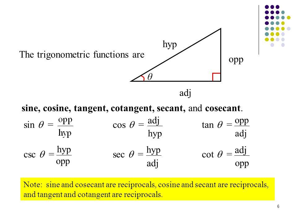 7 Reciprocal Functions Another way to look at it… sin = 1/csc csc = 1/sin cos = 1/sec sec = 1/cos tan = 1/cot cot = 1/tan