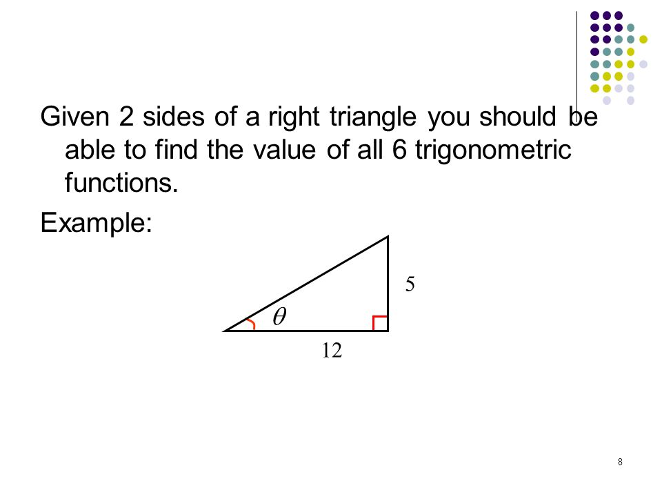 9 Calculate the trigonometric functions for.