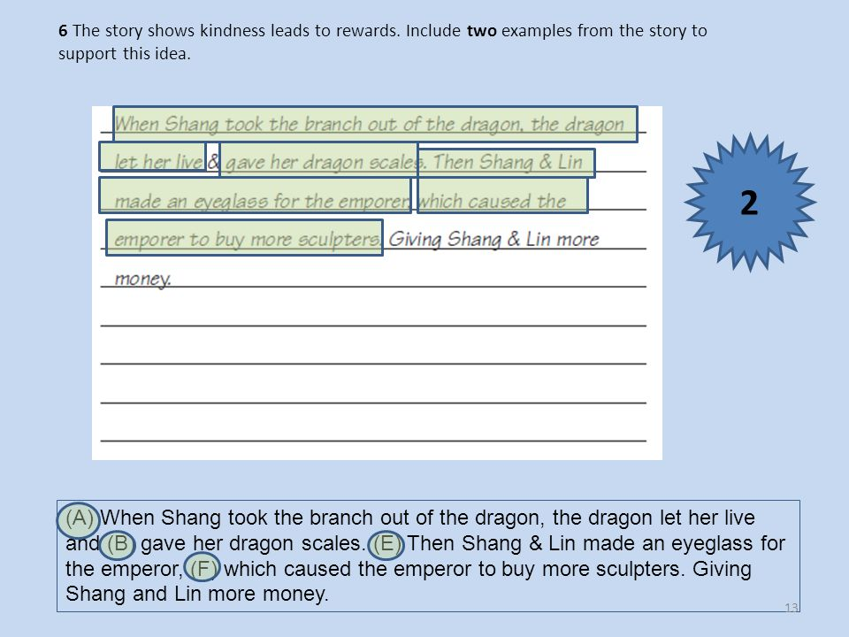6 The story shows kindness leads to rewards. Include two examples from the story to support this idea. (A) When Shang took the branch out of the drago