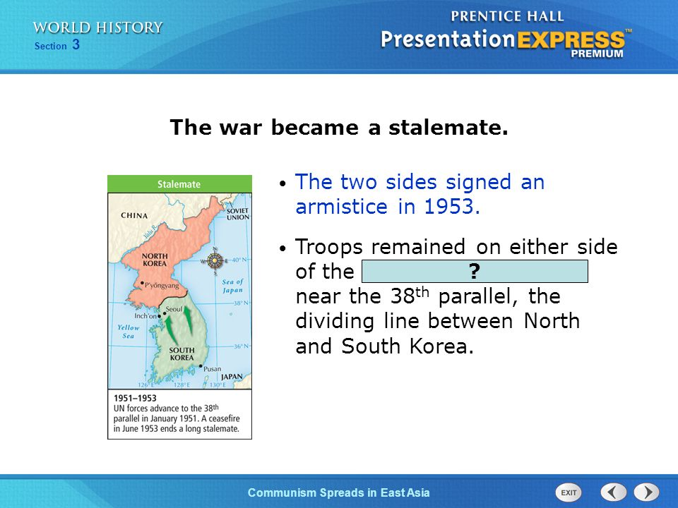 The Cold War BeginsCommunism Spreads in East Asia Section 3 This force stopped the North Koreans at the Pusan Perimeter and then advanced north. Next,