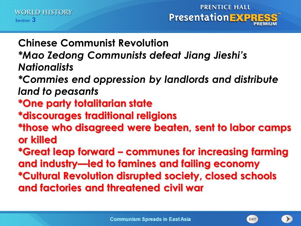 The Cold War Begins Section 3 Communism Spreads in East Asia