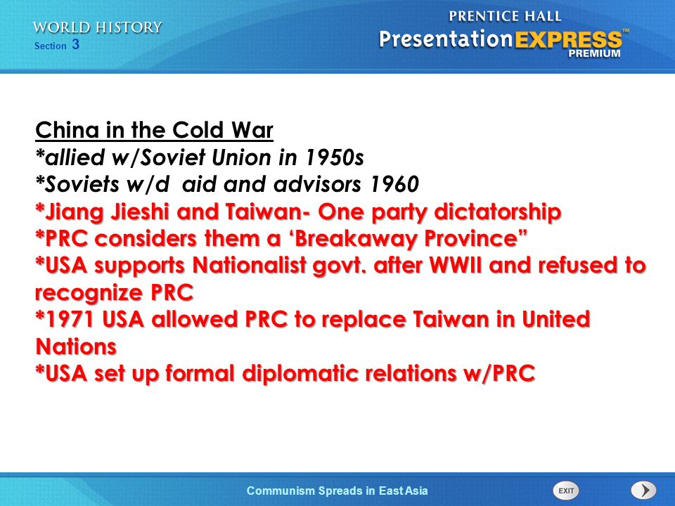 The Cold War Begins Section 3 Communism Spreads in East Asia Chinese Communist Revolution *Mao Zedong Communists defeat Jiang Jieshis Nationalists *Co