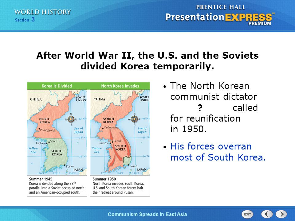 The Cold War BeginsCommunism Spreads in East Asia Section 3 In fact, Soviets withdrew all aid from China in 1960 due to border clashes and other dispu