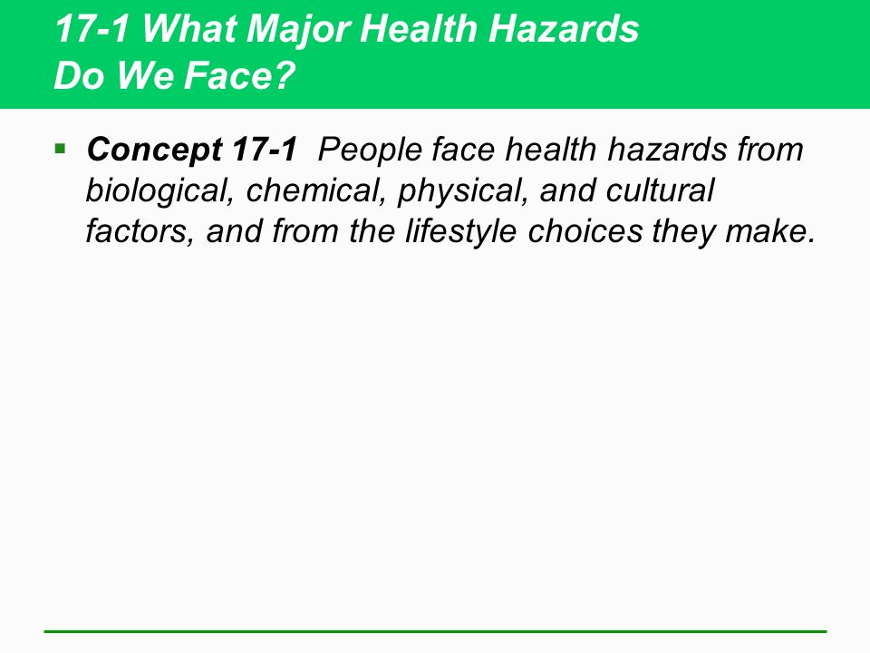 17-1 What Major Health Hazards Do We Face? Concept 17-1 People face health hazards from biological, chemical, physical, and cultural factors, and from
