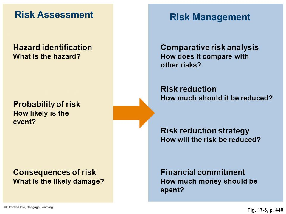 Fig. 17-3, p. 440 Risk Assessment Risk Management Hazard identification What is the hazard? Comparative risk analysis How does it compare with other r