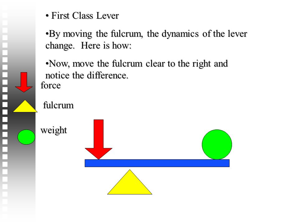 First Class Lever First Class Lever By moving the fulcrum, the dynamics of the lever change. Here is how:By moving the fulcrum, the dynamics of the le
