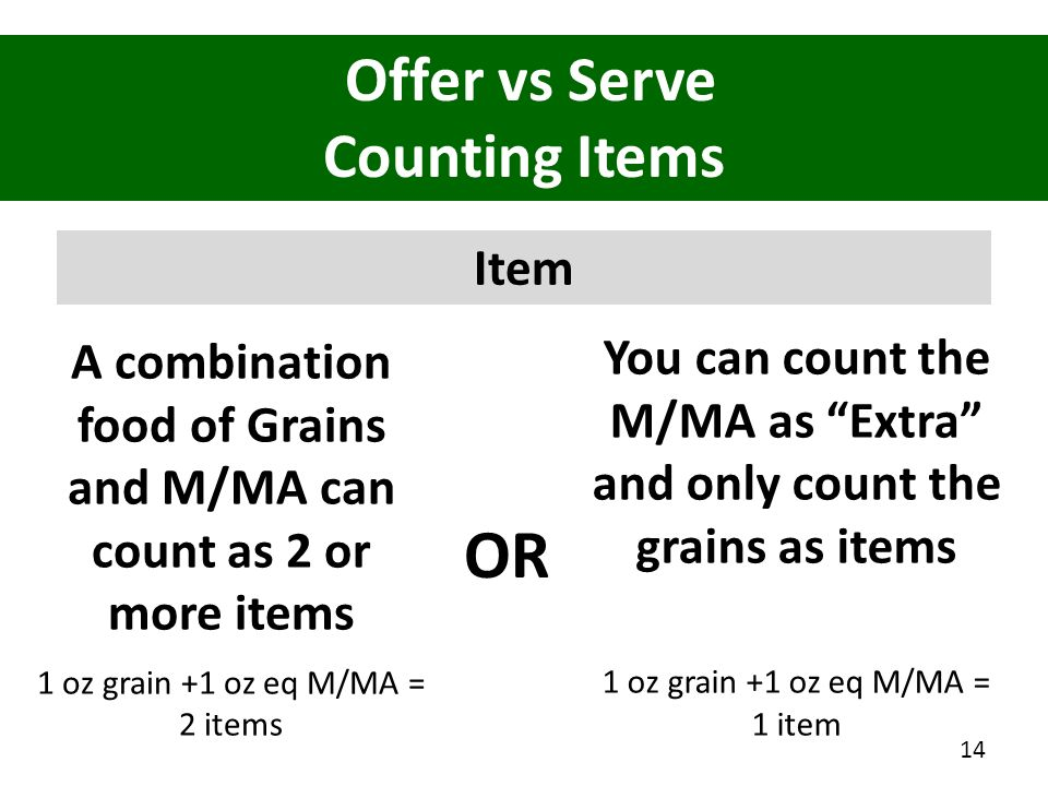 Offer vs Serve Counting Items Item A combination food of Grains and M/MA can count as 2 or more items 1 oz grain +1 oz eq M/MA = 2 items 14 You can co