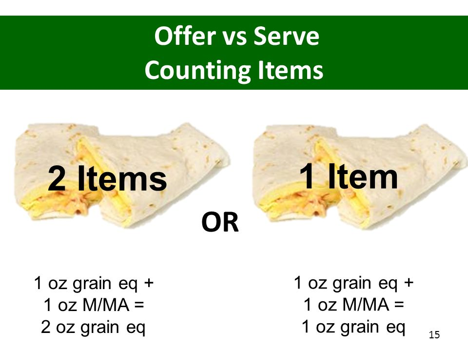 Offer vs Serve Counting Items 1 oz grain eq + 1 oz M/MA = 2 oz grain eq 2 Items 15 2 Items 1 Item 1 oz grain eq + 1 oz M/MA = 1 oz grain eq OR