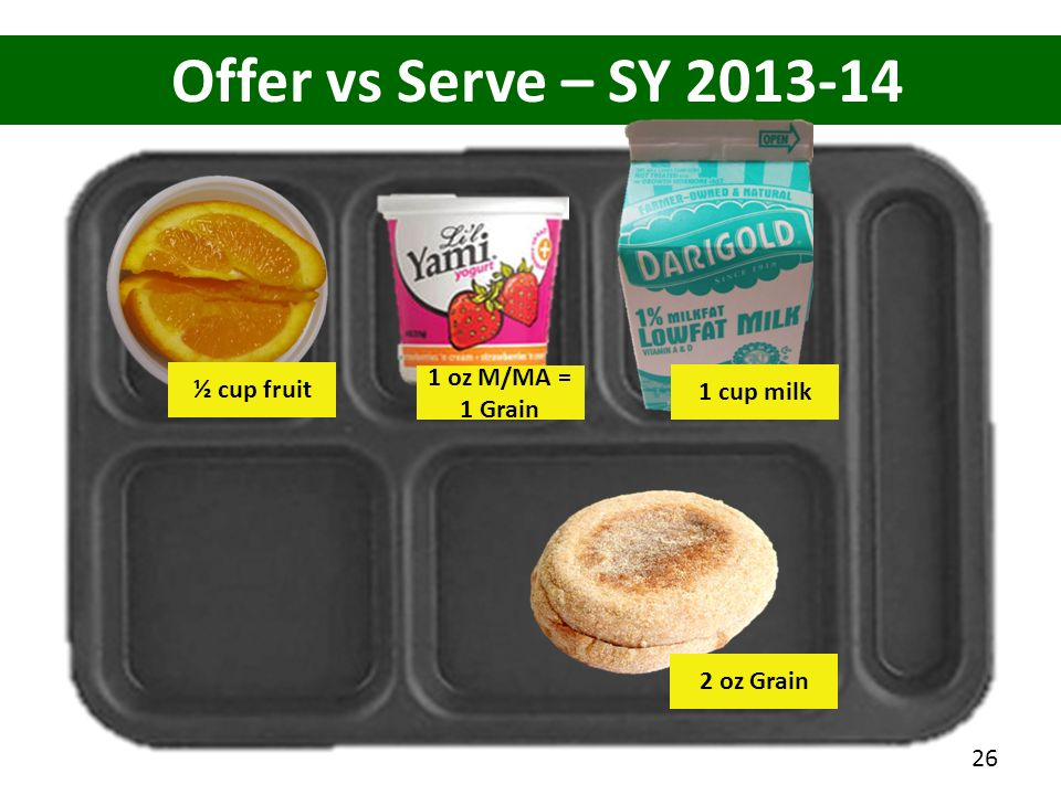 Offer vs Serve – SY 2013-14 2 oz Grain 1 oz M/MA = 1 Grain ½ cup fruit 1 cup milk 26